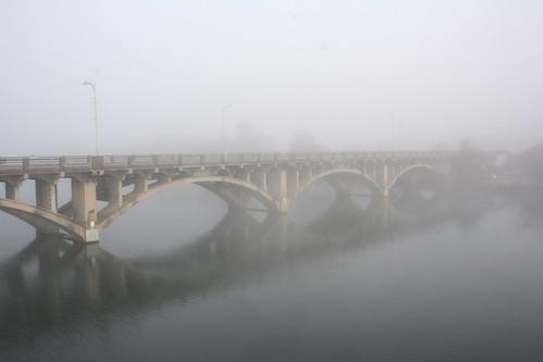 austin texas lake coloradoriver townlake bridge lamarbridge lamarboulevard lamar fog lamarboulevardbridge river ladybirdlake explore mist