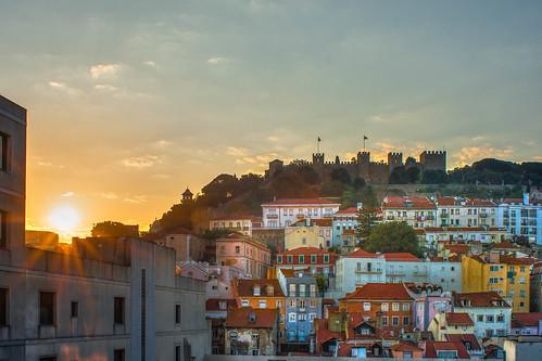 portugal lisboa lisbon sinrise old castle