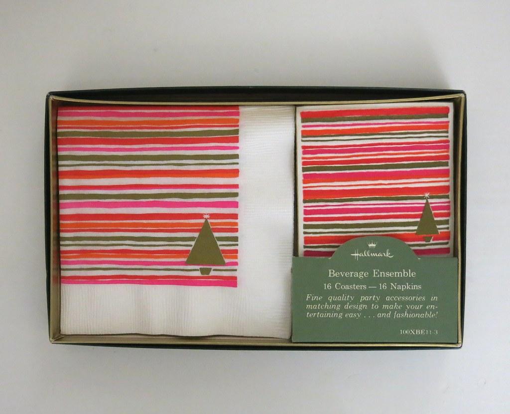 a495079bb6 ... Vintage Hallmark Beverage Ensemble - MOD Trees and Stripes