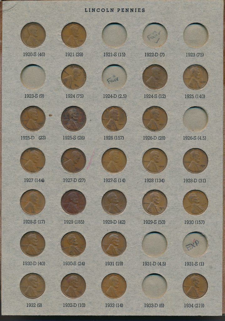 RD2591 Lincoln Cent 1909 - 1973 Album Page 2