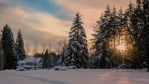 tyneheadregionalpark house victorian architecture clouds sunrays trees winter snow field picnictables shadows surrey landscape sunset outdoors nikon d7000 dslr orange warmth pathway trail footprints forest tree allfreepicturesfebruary2018challenge