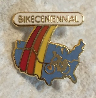 Bikecentennial pin with the Trans America route