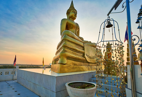 afternoon architecture asia cult landscape light mountain outdoor outdoors sunset temple thailand tourism travel wanderlust khaodin chachoengsao