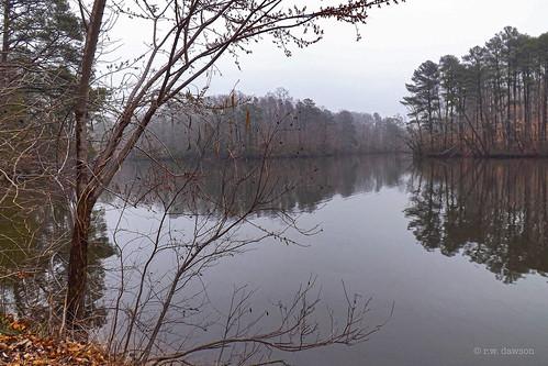 lakemaury newportnews virginia va usa causeymillpark fog foggy lake landscape