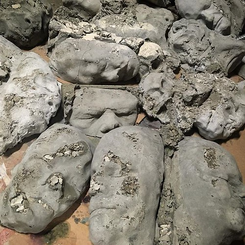 I'm able to make about three per week and try to keep my molds full. It still takes awhile but I'm getting quite a collection of faces cast. I'll be excited to have these filling my #sectetgarden #cement #art #kingdomdeath | by bradisdrab