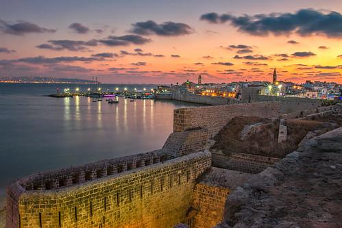 acre israel longexposure akko overview bay city skyline clouds travel lights night walls