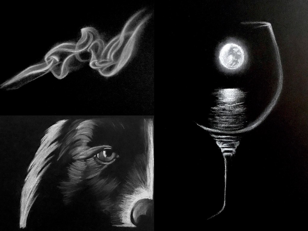 4264e013127 ... More white-on-black fun! (drawing pieces done with white charcoal on