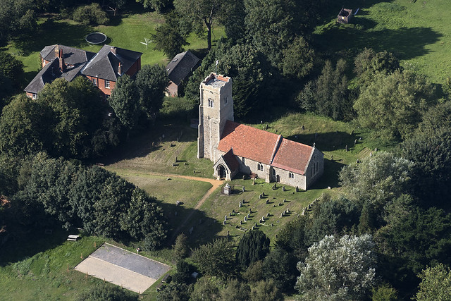 Shottisham St Margaret of Antioch church aerial