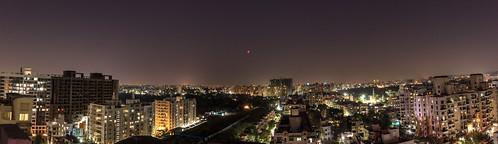 bloodmoon bluemoon cityscape lights lunaleclipse moon night rareevent sky stars supermoon
