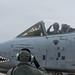 """Capt. """"Pinna"""", an Italian air force exchange pilot with the 74th Fighter Squadron, salutes his crew chief while taxiing in a U.S. Air Force A-10 Thunderbolt II, Moody AFB, Jan. 17, 2018. The Military Personnel Exchange program provides officers with the opportunity to participate in personnel exchanges with over 30 countries. (U.S. Air Force photo by Tech. Sgt. Greg C. Biondo)(U.S. Air Force photo by Tech. Sgt. Greg C. Biondo)(U.S. Air Force photo by Tech. Sgt. Greg C. Biondo)"""