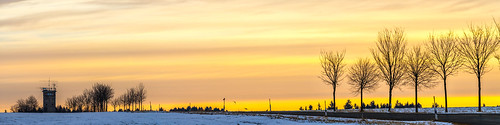 sunrise trees road vogtland watchtower landscape panorama germany snow winter border