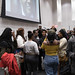 2/1/18 - 8:40 AM - UMD students and others at the Riggs Alumni Center on February 1st 2018.  They were waiting to ask questions. (Richard Moglen/The Diamondback)