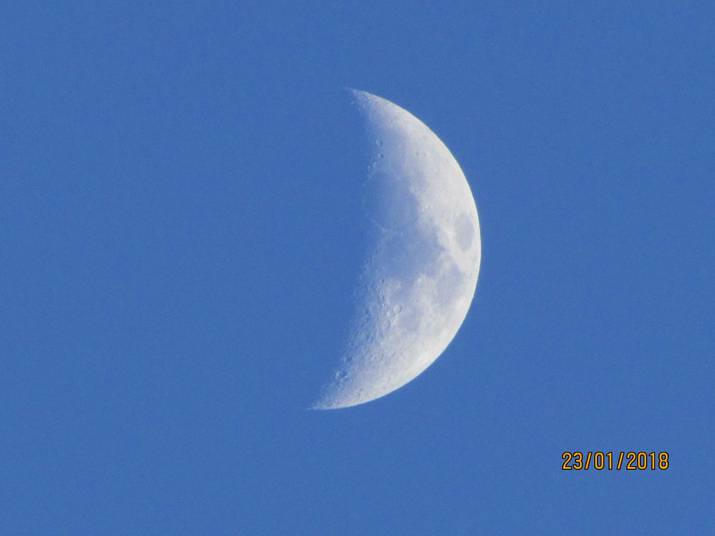 Early evening moon.