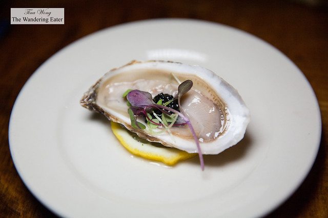 West Coast oyster with caviar and Champagne vinaigrette