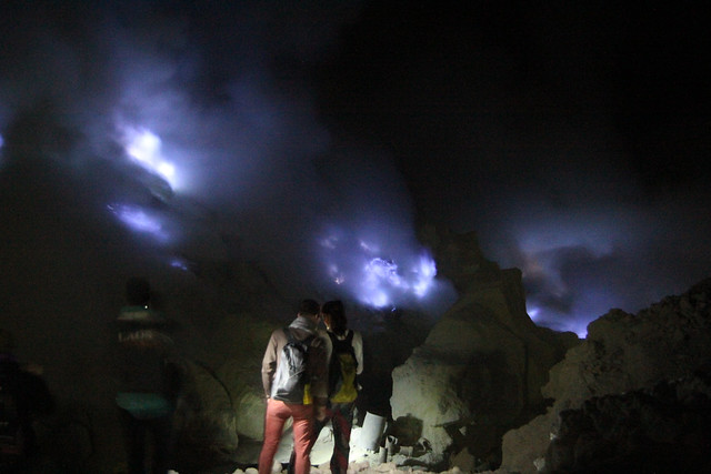 Blue fire at the Mount Ijen Crater
