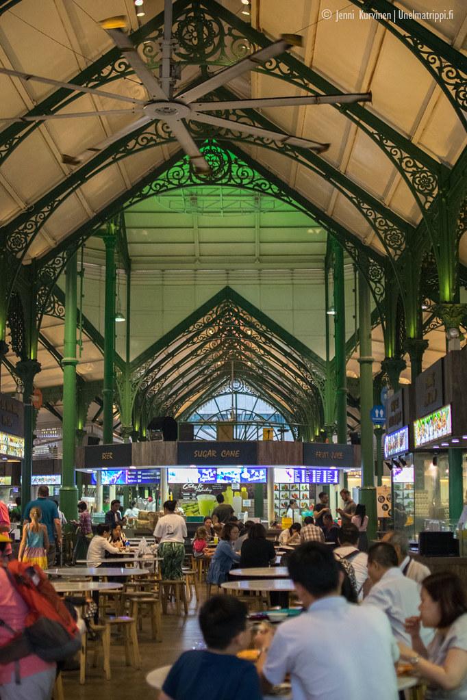 Telok Ayer Marketin sisätiloissa on historiallista tunnelmaa