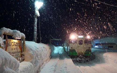 豪雪地帯を走る只見線を冬に訪ねるときは長靴が必須