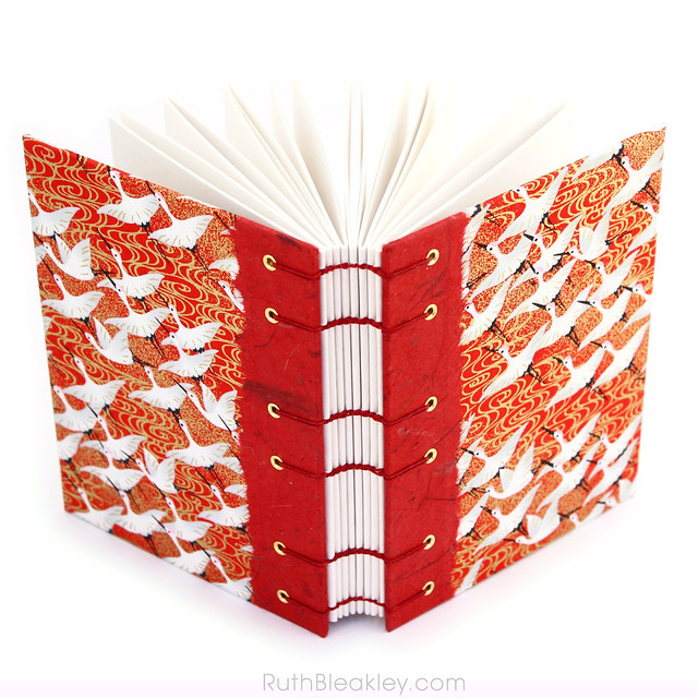 Red Crane Japanese Paper Journal with Unlined Pages handmade by Ruth Bleakley - 2