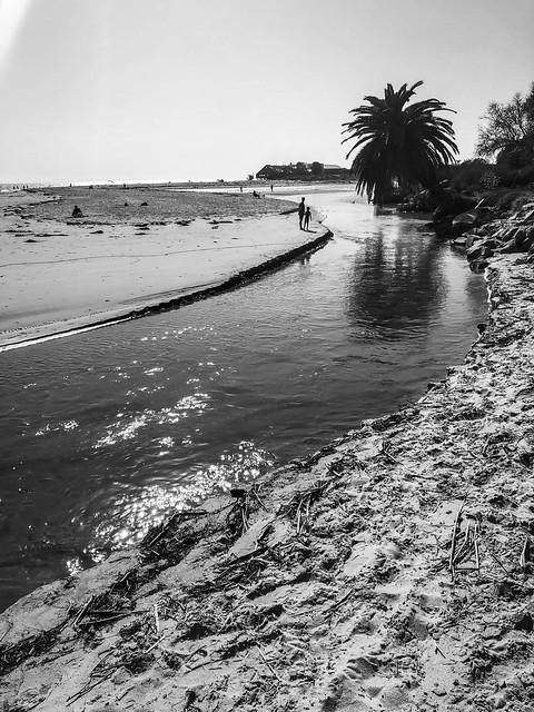 River of Ocean Water in Malibu, California