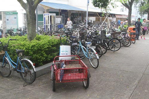 Tricycle among the bikes at Peng Chau ferry pier
