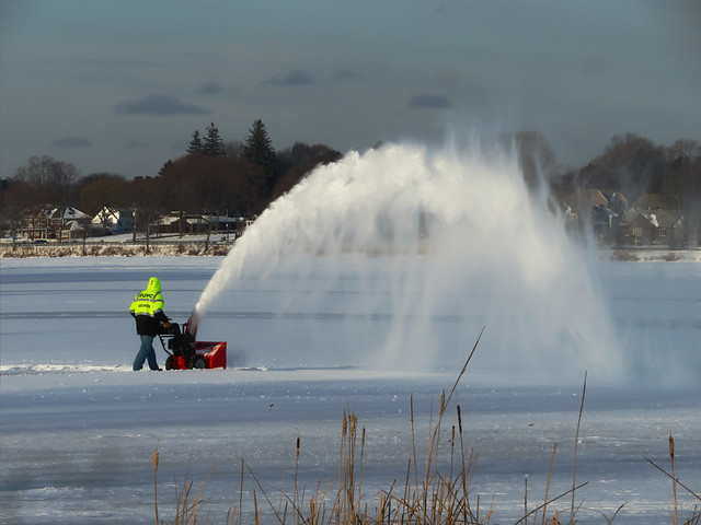snowblower on Lake Quannapowitt; Wakefield, Massachusetts