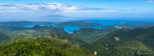 2018 aucklandregion greatbarrierisland mthobsonhike nz newzealand northisland hauraki gulf hiking hirakimata panorama pano view portfitzroy mthobson