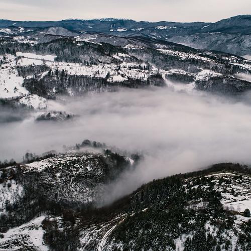 sarajevo bosnia herzegovina aerial drone dji phantom 4 pro plus p4p phantom4 phantom4pro phantom4proplus winter snow road roads forest nature landscape landscapes fog foggy