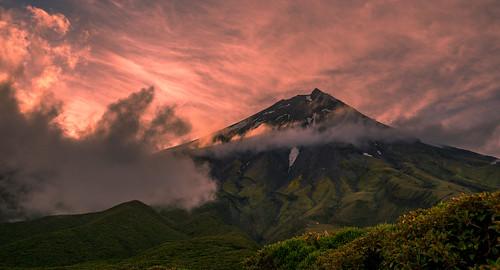 d750 sun summer newzealand landscape nz taranaki pink mounttaranaki mountains sky green hills northisland sunlight clouds