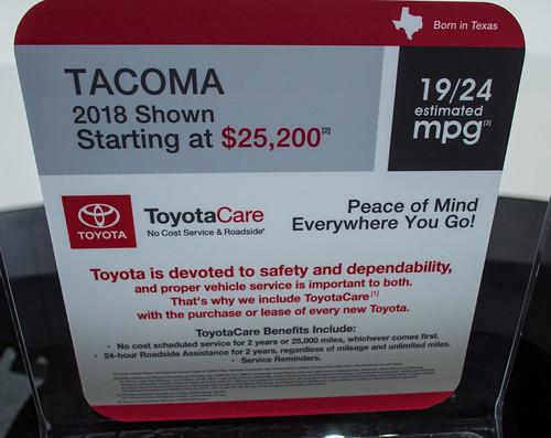 NAIAS 2018 Toyota Tacoma Pickup Truck Photo