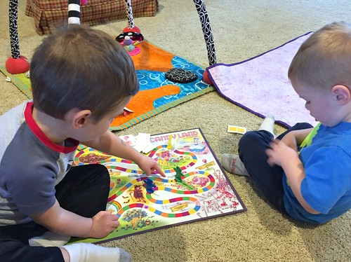 boys playing candy land