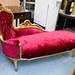 Ornate gold painted pink crushed velvet  chaise longe E175