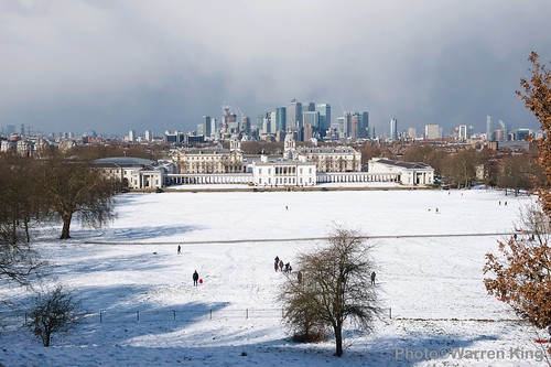 Greenwich Park, The Old Royal Naval College and Canary Wharf in the snow