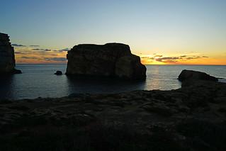 Fungus Rock at sunset, Gozo, Malta