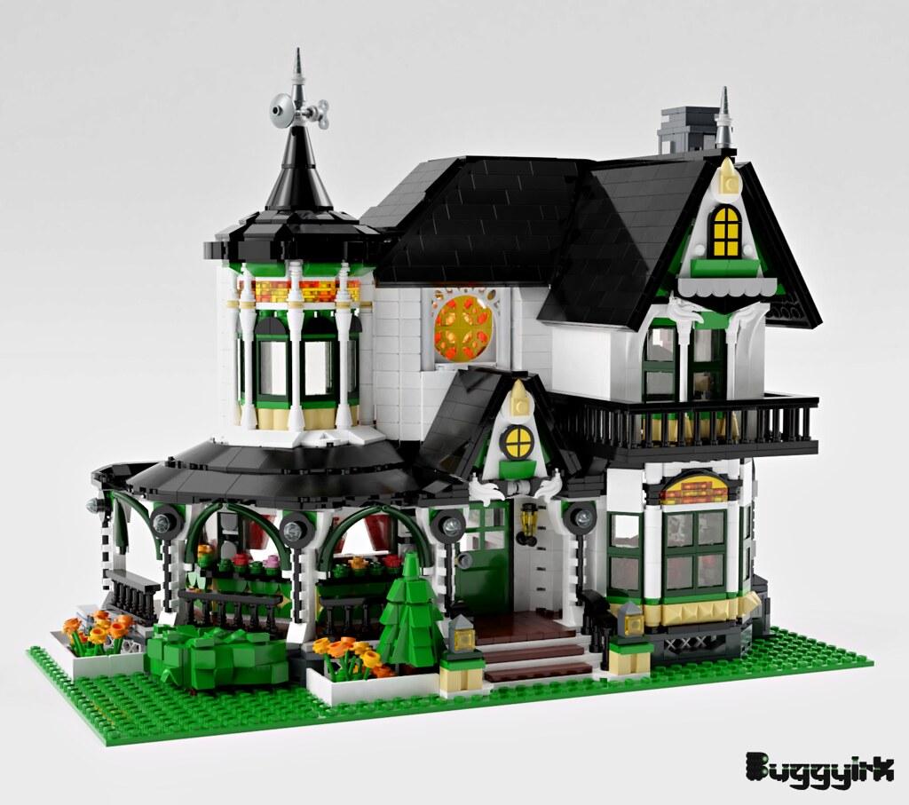 LEGO Ideas Victorian Dream Home - exterior left corner logo