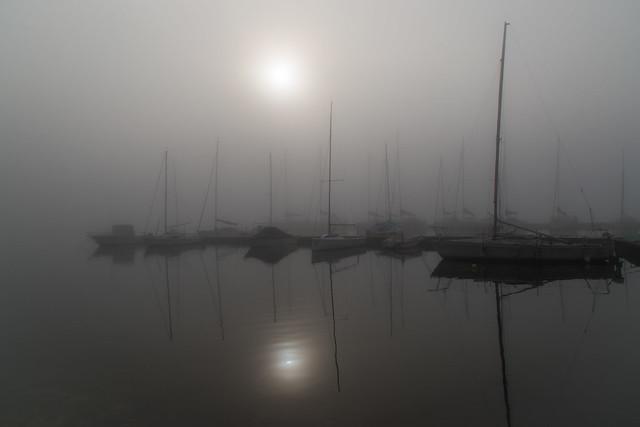 Fog over the Italian lake Lago Maggiore
