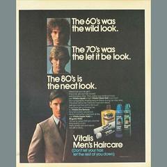 80s Vitalis Men?s Hair Care product Advertisement