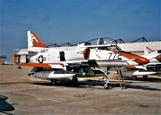 TA-4J Skyhawk 153680/A-772 VT-7/TW-1 U.S.Navy. Photo was taken a month before the TA-4J was retired from the training duty. Most of them were flown to Davis-Monthan AFB, near Tucson, Arizona for storage. NAS Meridian, Mississippi, 04-08-1999.