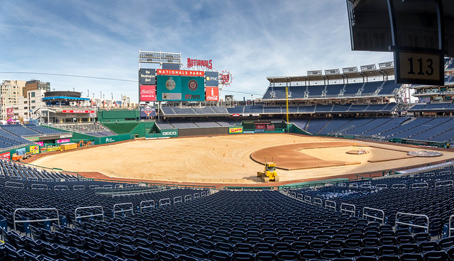 Washington DC Nov 11, 2017: Nationals Park during a complete renovation of the field after the end of the 2017 season. The growth medium and grass have been removed showing the base paths, batter's mound and plates exposed.