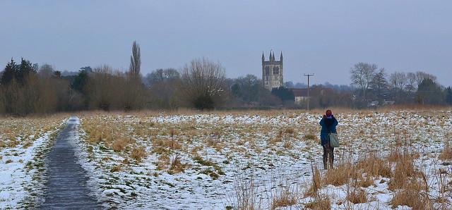 Winter landscape with figure