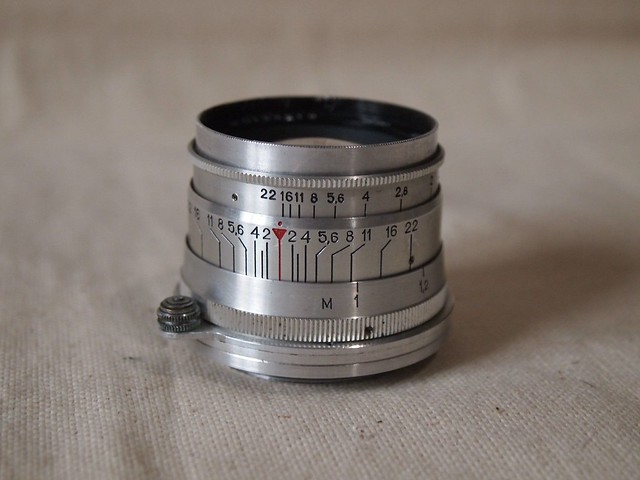 KMZ Jupiter-8 50mm ƒ/2 silver red P (КМЗ Юпитер-8 п)