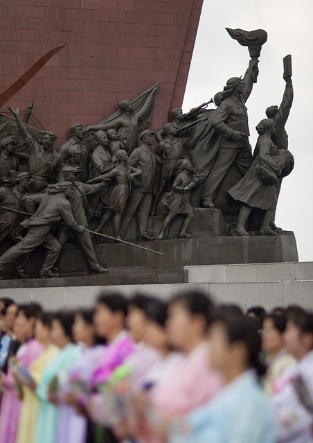 Statues of North Korean citizens in their anti-japanese revolutionary struggle in Mansudae Grand monument, Pyongan Province, Pyongyang, North Korea