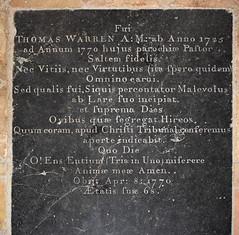 Thomas Warren, Pastor of this parish, 1770