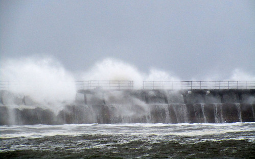 Blyth east pier in an easterly gale 2