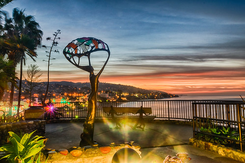 california hdr lagunabeach nikon nikond5300 pacificocean beach clouds geotagged light morning ocean palmtree sculpture sky sunrise tree water unitedstates