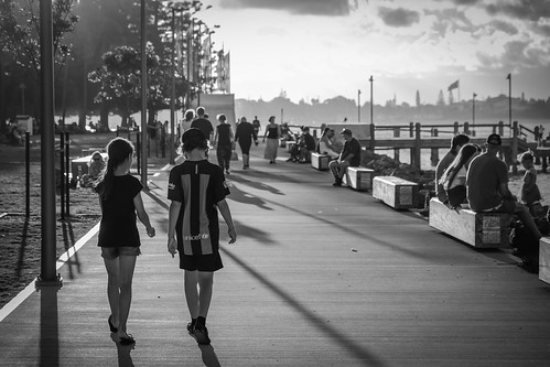 portmacquarie boardwalk blackandwhite people sunset evening