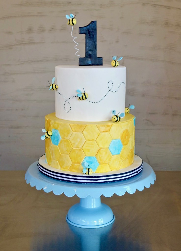 Strange Bumble Bee And Honeycomb 1St Birthday Cake Sasa Flickr Personalised Birthday Cards Paralily Jamesorg