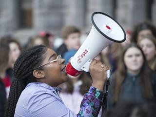 Speaker at a protest for gun reform | by Fibonacci Blue