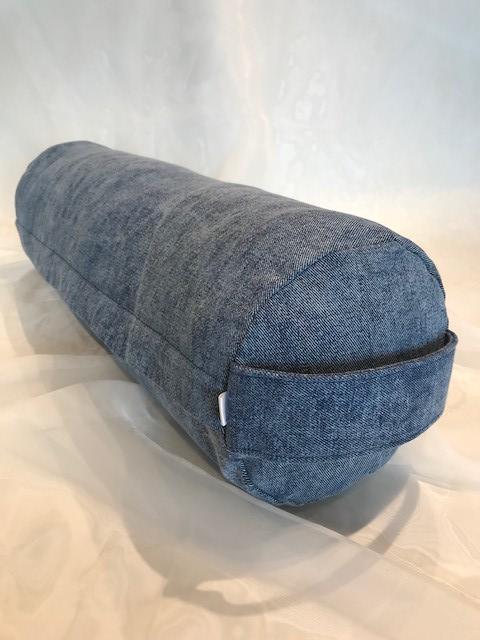Blue Jean Denim Yoga Bolster Pillow