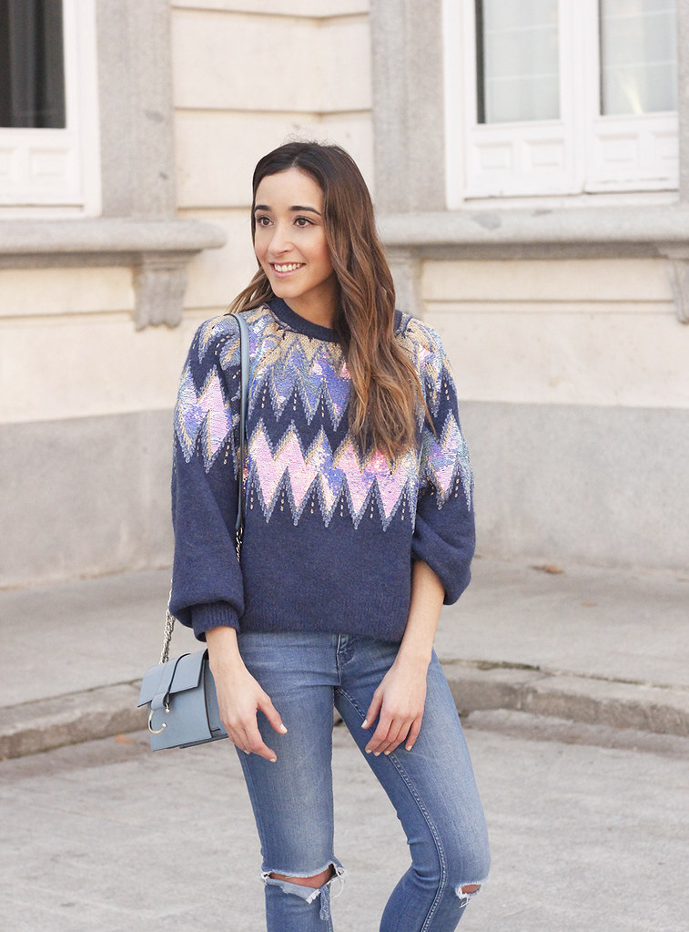 65aae5ce3b122 ... blue sequin sweater ripped jeans carolina herrera pink heels uterqüe  bag winter outfit 201817 | by
