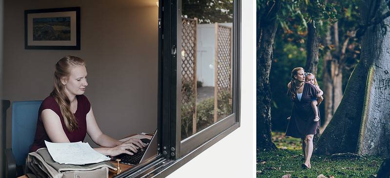 Left: Kiki between counselling sessions in her office at The Well International; Right: With daughter, Abigail - photo by Chad Loftis and courtesy of Nawat Photography.